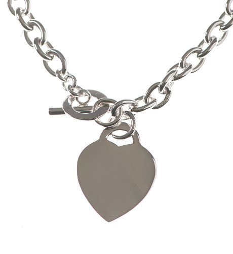 Silver 16 Inches Belcher Chain with a Large Heart and T-Bar Clasp