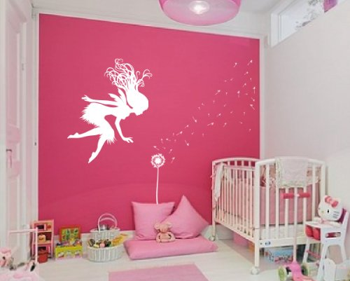 Fairy Dandelion Wand Wall Decal Nursery Kids Room Tale Sticker 1146 (White)