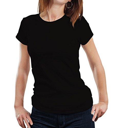 Fanideaz Round Neck Cotton Solid Plain T-Shirts for Womens_Black_L