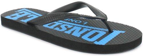 Mens/Gents Black Slip On Toe Post Sandals/Flip Flops. - Black/Fluo Blue - UK 7-12