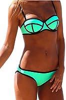 TDOLAH Women Black Push up Diving Suit Neoprene Material Padded Bikini Swimsuit Set Ladies' Swimwear S-XL