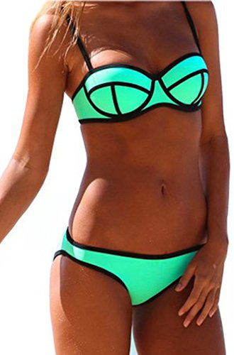 Imilan Luxury Push up Bright Diving Suit Neoprene Bikini Set Swimsuit Swimwear (L (US Size 8-10), Blue) image