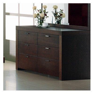 Bh Design Traxler 6-Drawer Dresser, Dark Walnut front-320946