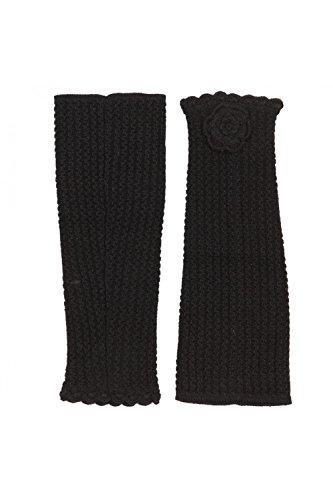 ANTA Q'ULQI - Ghette a maglia con fiore 100% in lana di baby alpaca - avorio, Taglia unica