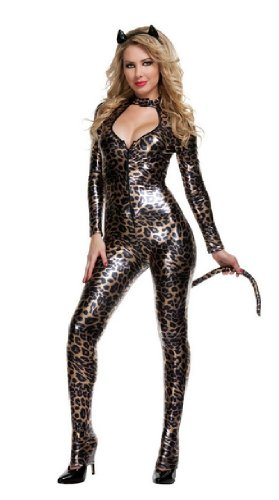 GALHAM - Sexy Catwoman PU Leather Leopard Print Bodysuit Halloween Party Costume