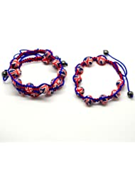 CKB Ltd 3x Union Jack UK Flag Fashion Adjustable Red Blue Cord Bracelet Clay Beads 22cm