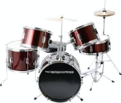 DrumFire Drum Set Kit - Wine Red Metallic (5 Pieces)