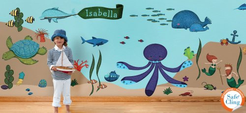 Ocean Wall Stickers for Under the Sea Theme Wall Mural for Kids Room - 62 Underwater Wall Decals