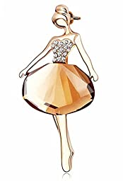 Domilina Little Ballet Girl Rhinestone Crystle Pin Brooch for Bridal or Wedding