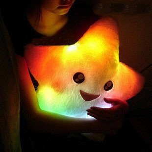 Valentine'S Day Gift 7-Color Changing Led Light Flashing Star Fluffy Cushion Throw Pillow - White Tjspecia
