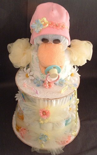 Pink/Blue/Yellow Duck Baby Shower Gift Diaper Cake Centerpiece