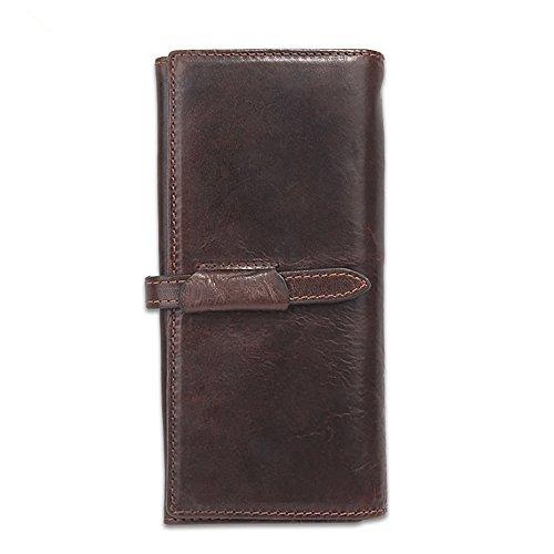 Lqt a portafoglio, in cuoio, da uomo, colore: caffè