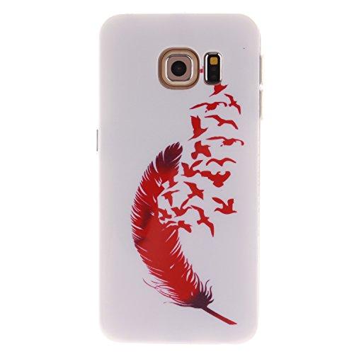 Ecoway Schutzhülle / Cover / Case Bunte Muster Weich TPU Handy Hülle für Samsung Galaxy S6 edge - Rote Feder