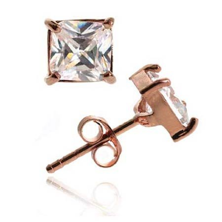 18K Rose Gold over Sterling Silver CZ 5mm Square Stud Earrings