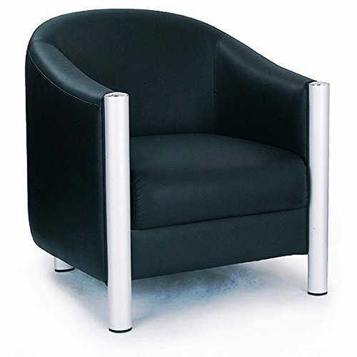 Quality Leather Faced Tub Style Chair Black