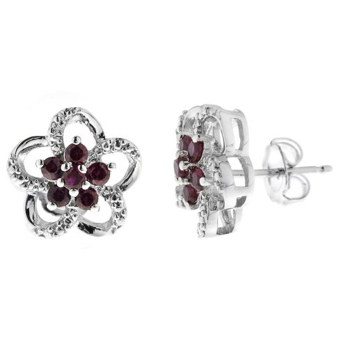 Sterling Silver Created Ruby and Cubic Zirconia Flower Earrings