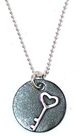 Precila G. Designs Charms of Life Collection Sterling Silver Necklace with Round Key Pendant Stands for