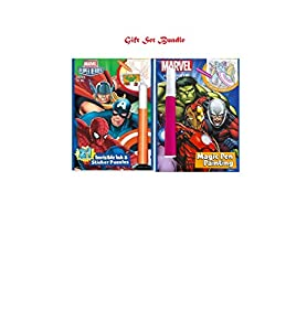 Marvel Heroic Adventures Magic Painting Pen and Marvel Justice for All Invisible Ink & Sticker Puzzles Gift Set Bundle