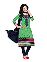 PShopee Light Green & Blue Cotton Embroidery Unstitched Karachi Dress Material