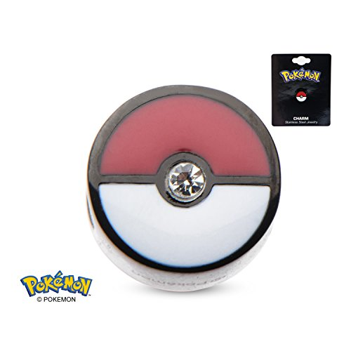 Pokemon Poke Ball with Clear CZ Black PVD Plated 316L Surgical Steel Bead Charm