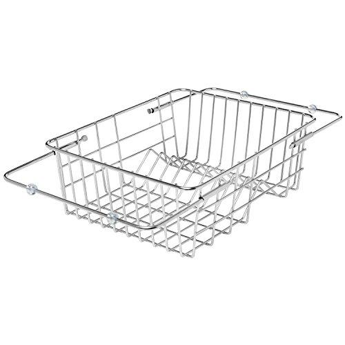 Sleek Stainless Steel Space Saving Adjustable In Sink 9 Slot Dish Drying Basket Rack