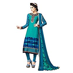 Resham Fabrics Blue French Crepe salwar Suit