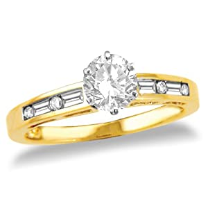 14k Yellow Gold Round Diamond Engagement Ring with Channel-Set Baguette and Round Diamond (1/2 ct center, 5/8 cttw, G-H Color, SI2-I1 Clarity)