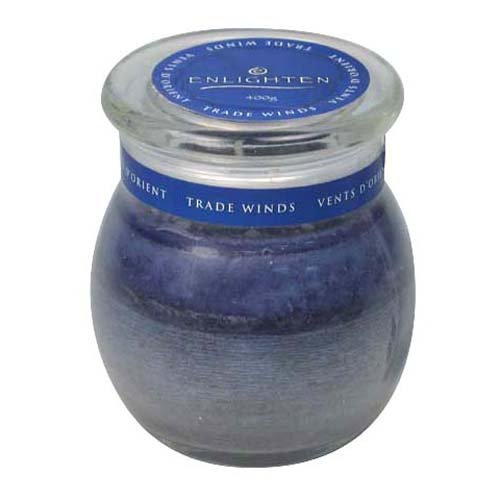 Enlighten CA03747-3 14-Ounce Jar Candle with Lid, Tradewinds Fragrance, Blue
