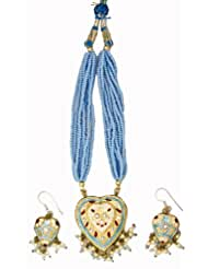 Exotic India Sky-Blue Beaded Bunch Necklace With Heart-Shape Pendant And Earrings Set - Lacquer With