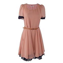 1veMoon Women's Elegant Round-neck Short-sleeve Chiffon Slimming Short Dress With Belt,Pink,Regular Sizing 4