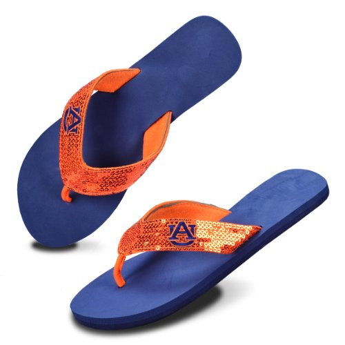 NCAA Auburn Tigers Women's Team Color Flip Flops, Navy/Orange, X-Small/5-6 at Amazon.com