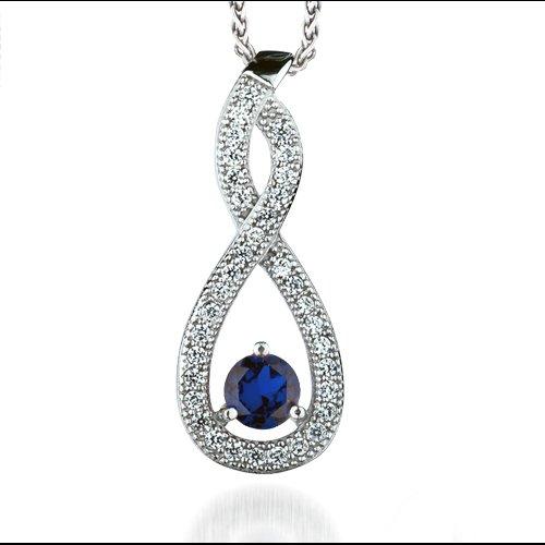 The REAL Effect - Rhodium Silver - Sapphire-Colour CZ - Pendant Necklace - TearDrop Twist - 16/18