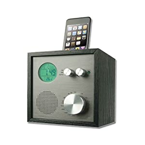 SuperSonic SC-7SP Vintage AM/FM Radio Alarm Clock iPod Dock + Speaker