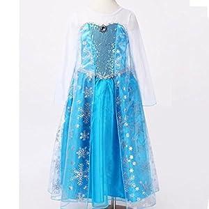 Frozen Queen Elsa Syle Girls Princess Fancy Dress Costume *Free Wand Crown and Elsa Hair*