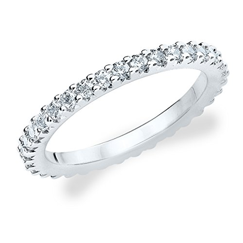 18K White Gold Diamond Knife Edge Eternity Band (.50 Cttw, F-G Color, Vvs1-Vvs2 Clarity) Size 7