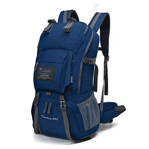Mountaintop 40L Water-resistant Hiking Daypack/Camping Backpck/Travel Daypack/Casual Backpack with Rain Cover for Outdoor Climbing School-5812II (sky blue)