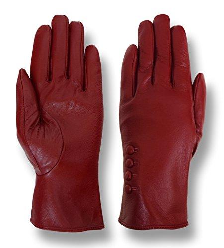 Giromy Samoni Women's Plush Lined 4-Button Dress Leather Gloves - Red - L
