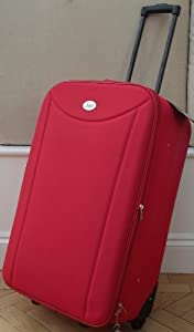 Bright Red Medium 77 lts Travel Luggage suitcase On Wheels EXPANDING trolly Light Weight