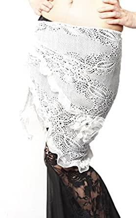 Belly Dance Lace Flower Hip Scarf , Fringe Waist chain , Belly dance costume