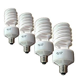Full Spectrum Photo Flourescent Light Bulbs, PBL 50 Watt CFL 5100k Natural Daylight Balanced Pure White Case of 4 by PBL