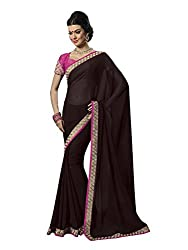 Shopeezo Daily Wear Brown Colored Printed Saree/Sari