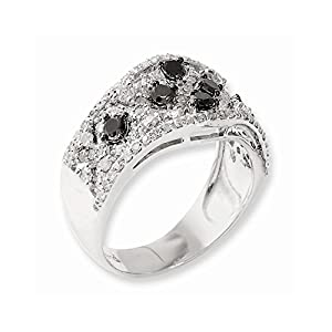 Sterling Silver Black & White Diamond Ring, Size 6, (1 ctw, I1-I2 Clarity), Jewelry Rings for Women