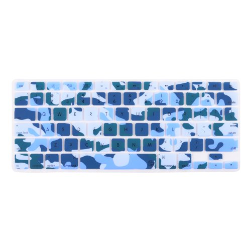 """Case Star ® Soft Silicone Keyboard Cover Skin For Newest 13"""" 15"""" 17"""" Retina Apple Macbook Pro Aluminum Unibody (Black Keys, Without Dvd Rom, 13-Inch 15-Inch 17-Inch Diagonal Screen) (Army Camouflage, Blue)"""