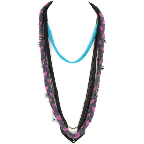 Soft Braided Fabric Layered Necklace - Crystal Cut Shimmery Beads - Brass Chain Link - Violet Pink Gray Turquoise & Black