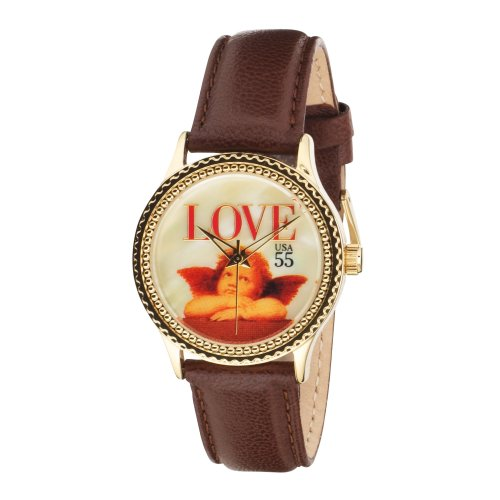 "The P.S. Collection by Arjang and Co. Women's AZ-1002G-DB ""Love Cupid"" Brown Leather Strap Watch and 14 Karat Gold Plated Sterling Silver Pendant Gift Set"