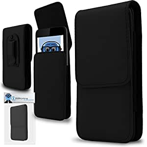 Black PREMIUM PU Leather Vertical Executive Side Pouch Case Cover Holster with Belt Loop Clip and Magnetic Closure for MicroMax A84