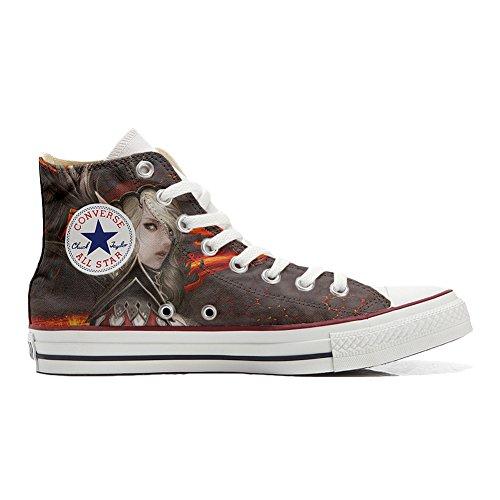 Converse All Star Hi Personnalisé et Imprimés chaussures coutume, Sneaker Unisex (produit Italien artisanal) femme Warrior size EU36