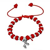 Believe Beads © Red Friendship Bracelet with Cross Pendant. Size Adjustable