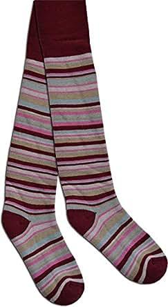 2 Paar Kinder Ringel Thermo Strumpfhose für Jungen und Mädchen in verschiedenen Farben Farbe Burgund Größe 74/80