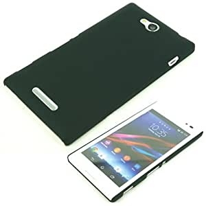 SellNxt Rubberized Coated Matte Hard Back case for Sony Xperia C (Black)